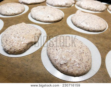 Making German Almond Macarons Macaroon Raw Before Baking Oblate Rice Paper Icing Frosting Sheet