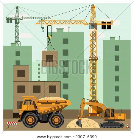 Construction Site With Equipment. Crane Builds A House. An Excavator Loads A Dump Truck With Sand. C