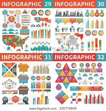 Infographic Business Design Elements - Vector Illustration. Infograph Template Collection. World And