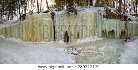 Panoram Of Eben Ice Caves, Frozen Ice Curtains In Michigan's Upper Peninsula. Located Near Eben Junc