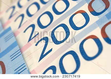 Two Thousand Rubles With One Banknote. New Russian Banknote In Two Thousand Rubles In 2017. Cash Pap