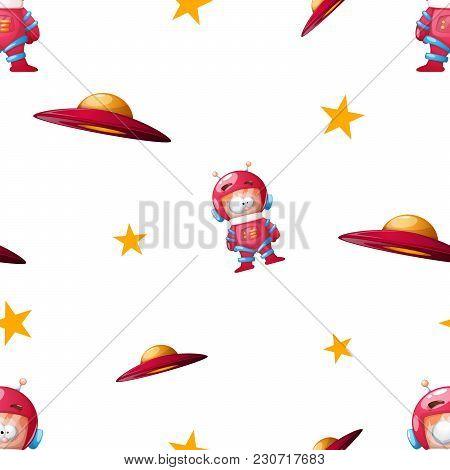 Ufo, Cosmonaut Cartoon Illustration Pattern. Vector Eps 10