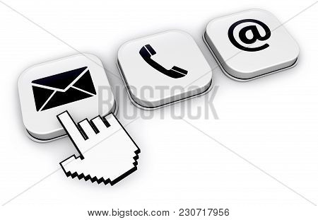 Website Contact Us Concept With Abstract Hand Cursor Clicking On Email Button Icon 3d Illustration O