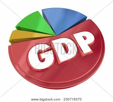 GDP Gross Domestic Product Pie Chart Figures Data 3d Illustration