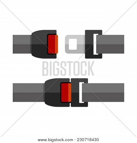 Open And Close Seatbelt Set. Flat Style Vector Illustration