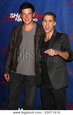 LOS ANGELES - SEP 1:  Cory Monteith, Dustin Milligan arriving at the