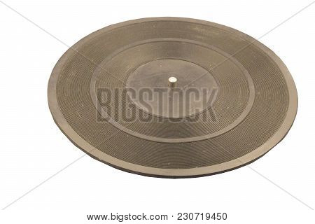 A Stack Of Old Retro Vinyl Records On An Isolated Gray Background For A Party Or Entertainment Conce