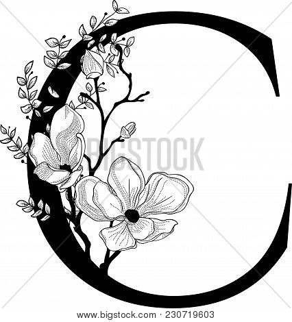 Vector Hand Drawn Floral C Monogram Or Logo. Letter C With Flowers And Branches. Cherry Blossom. Flo