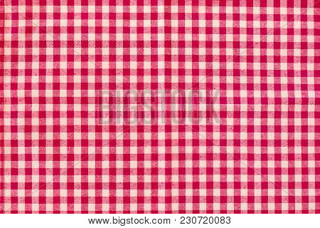 Red Classic Checkered Tablecloth Pattern Texture, Background With Copy Space