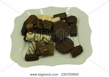 Chocolate Candies Over White Delicious Temptation Variations