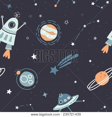 Seamless Childish Pattern With Doodle Space Elements Space, Satellite, Planet, Rocket, Black And Whi
