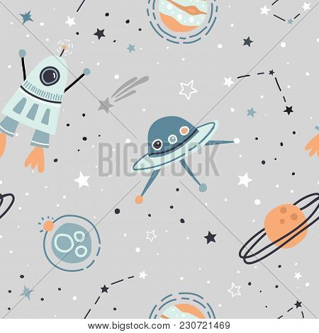 Seamless Childish Pattern With Hand Drawn Space Elements Space, Satellite, Planet, Rocket, Black And