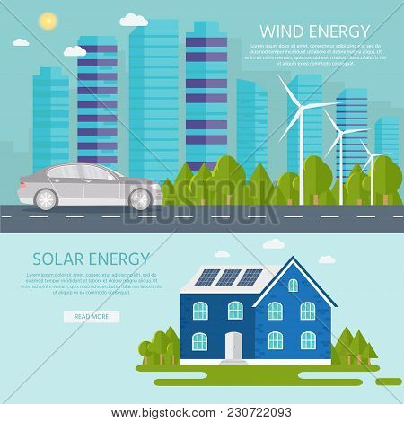 Green Modern House With Solar Panels, Wind Turbine And Smart Car. Eco Friendly Alternative Energy. E