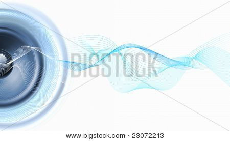 image of speakerphones and sound against white background poster