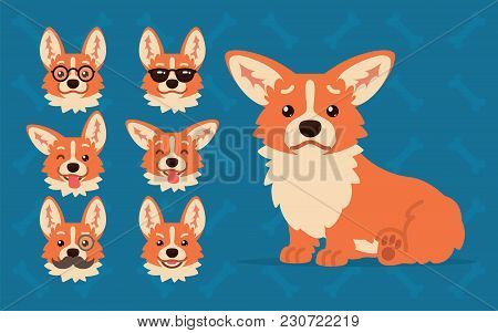 Cute Welsh Corgi Constructor. Illustration Of Corgi Dog Sitting And Its Head Shows Different Emotion