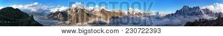 Evening Panoramic View Of Mount Everest, Lhotse, Makalu And Cho Oyu From Gokyo Ri, Sagarmatha Nation