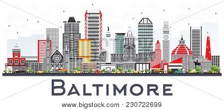 Baltimore Maryland City Skyline with Gray Buildings Isolated on White. Business Travel and Tourism Concept with Modern Architecture. Baltimore Cityscape with Landmarks.