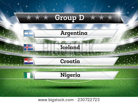 Football Championship Group D. Soccer World Tournament. Draw Result.
