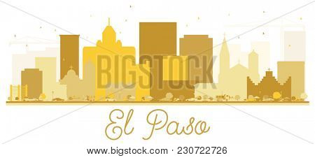 El Paso Texas USA City skyline Golden silhouette. Simple flat concept for tourism presentation, banner, placard or web site. El Paso Cityscape with landmarks.