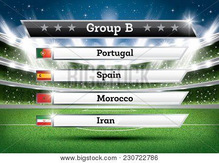 Football Championship Group B. Soccer World Tournament. Draw Result.