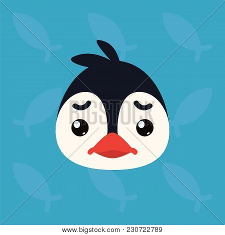 Penguin Emotional Head. Vector Illustration Of Cute Arctic Bird Shows Negative Emotion. Sad Emoji Sm