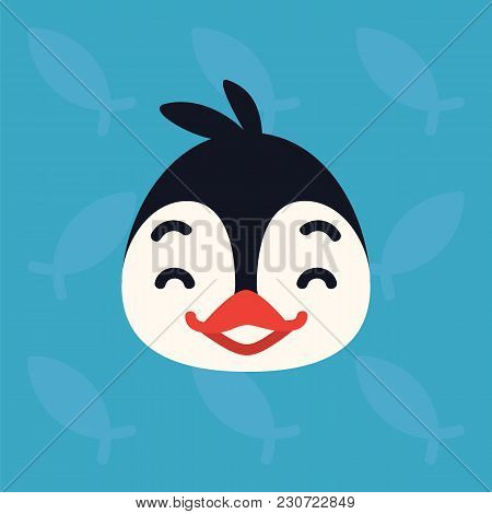 Penguin Emotional Head. Vector Illustration Of Cute Arctic Bird Shows Happy Emotion. Laugh Emoji. Sm