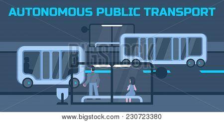 Autonomous Public Electric Transport Or Minibus Stops At City Bus Stop