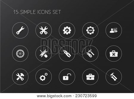 Set Of 15 Editable Mechanic Icons. Includes Symbols Such As Toolbox, Gears, 24 Hour Service And More