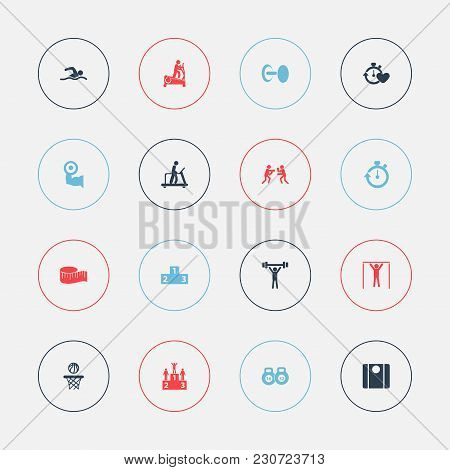 Set Of 16 Editable Active Icons. Includes Symbols Such As Podium, Weighing Machine, Ranking And More