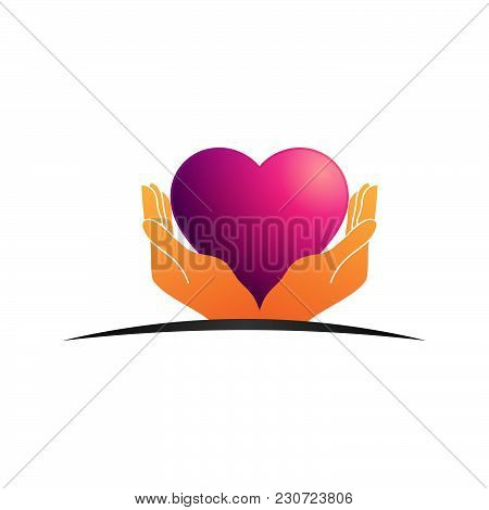 Donation And Volunteer Work Icon. Symbols Or Logo Of Human Care, Assistance For Health, Help And Hop