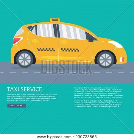 Poster With The Machine Yellow Cab. Public Taxi Service Concept. Flat Vector Illustration.