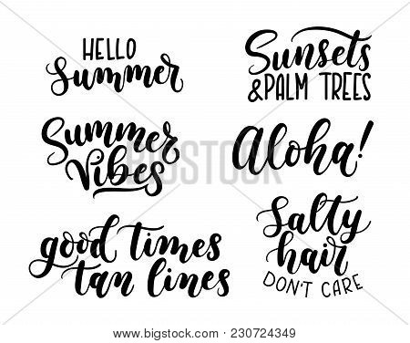Summer Calligraphy Set.big Set Of Summer Quotes Isolated On White Background. Hello Summer. Sunsets