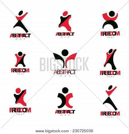 Vector Illustration Of Excited Abstract Person With Raised Hands Up. Creative Business Symbol.