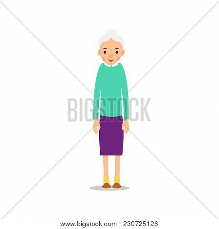 Old Woman. Elderly Woman Stand. Illustration Isolated On White Background In Flat Style. Full Length