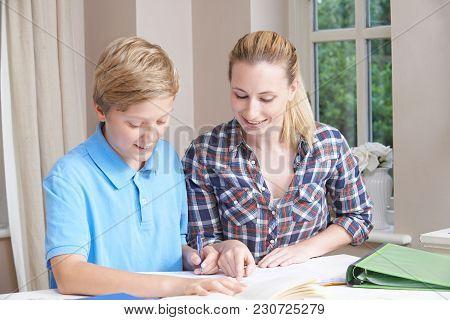 Female Home Tutor Helping Teenage Boy With Studies