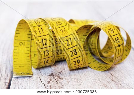 Numbers - Retro Yellow Tape Measure Close-up
