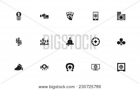 Set Of 15 Editable Casino Icons. Includes Symbols Such As Banner, Bell, Fortune And More. Can Be Use