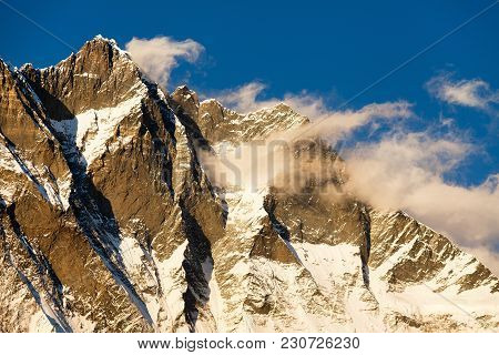 Evening Sunset View Of Lhotse And Clouds On The Top, Warm Tone - Way To Mount Everest Base Camp, Khu