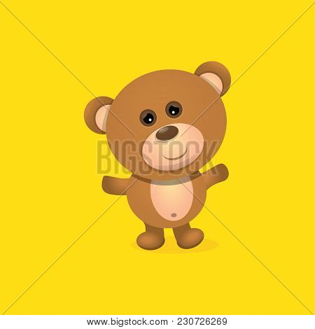 Vector Funny Teddy Bear Cartoon Character Isolated On Orange Background . Funny Kids Background Or G