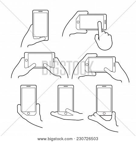 Hand Holds A Smart Phone In Vertical And Horizontal Position. Set Application Template Illustration
