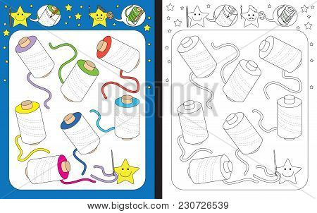 Preschool Worksheet For Practicing Fine Motor Skills - Tracing Dashed Lines Of Thread Spools