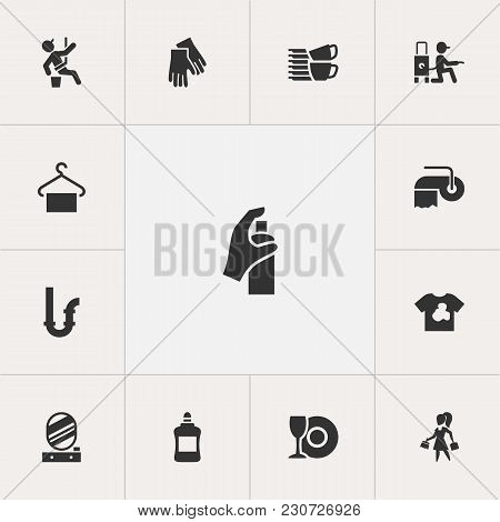 Set Of 13 Editable Cleaning Icons. Includes Symbols Such As Detergent Spraying, Hygienic Towel, Susp