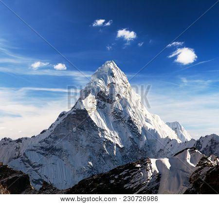 Mount Ama Dablam Within Clouds, Way To Everest Base Camp, Khumbu Valley, Solukhumbu Sagarmatha Natio