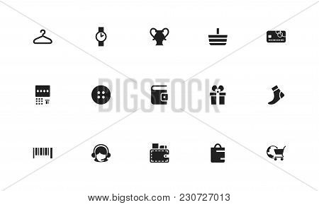 Set Of 15 Editable Business Icons. Includes Symbols Such As Merchandise, Wallet, Atm. Can Be Used Fo