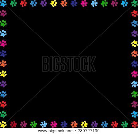 Multicolored Square Frame Made Of  Animals Paw Prints