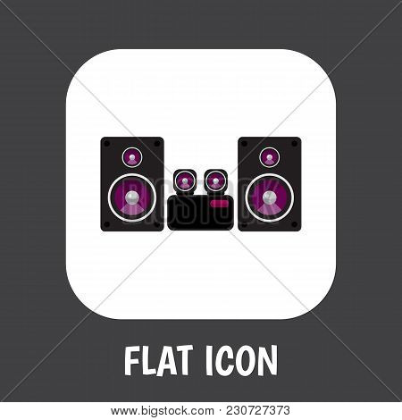 Illustration Of Tech Symbol On Loudspeaker Icon Flat. Premium Quality Isolated Stereo System Element