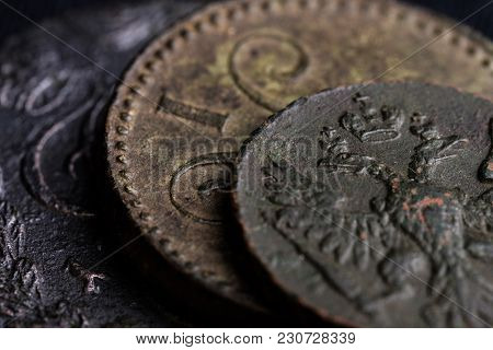 Parts Of Ancient Russian Coins Close-up Of The 18th Century