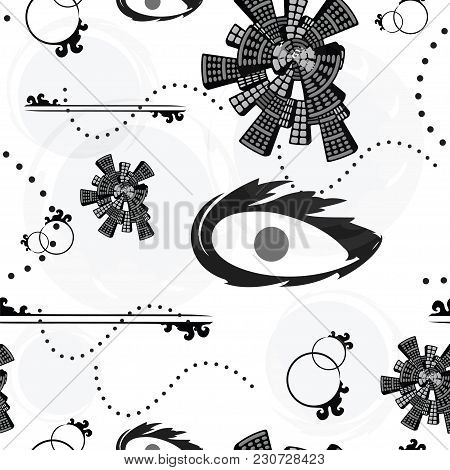 Seamless Tileable Pattern With Abstract Shapes In Black And Grey Colors