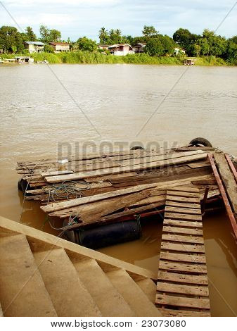 Floating raft on the River