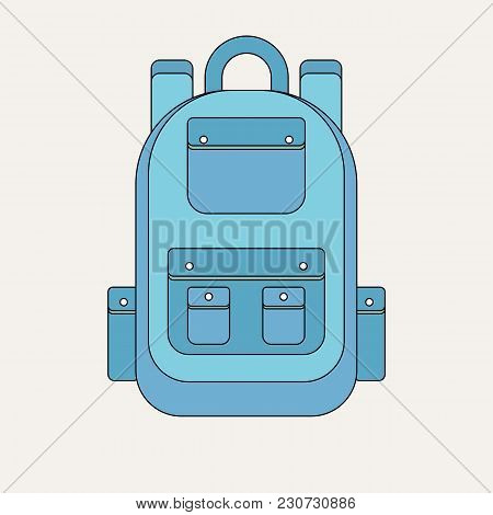 School Backpack In A Flat Style. Kids Backpack On A White Background. Child Backpack Vector Illustra